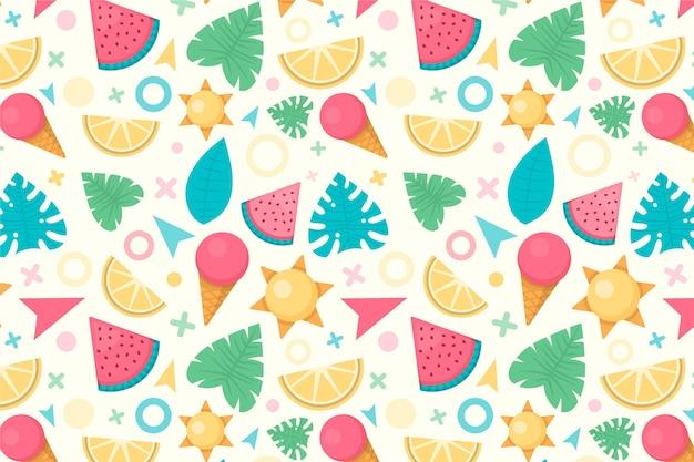 Arrière-plan de motif d'été coloré pour zoom