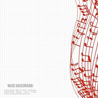 Arrière-plan de musique portable avec des notes de musique rouges et des vagues