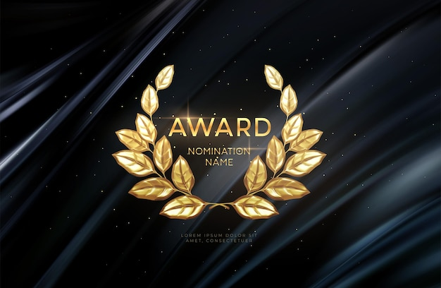 Arrière-plan des nominations pour le gagnant de la couronne de laurier d'or réaliste 3d. fond de concept de prix. illustration vectorielle