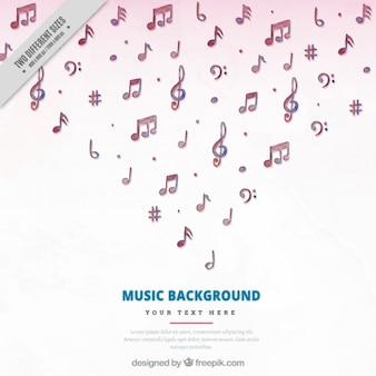 Arrière-plan de notes de musique belle aquarelle
