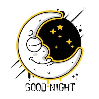 Arrière-plan avec des nuages, la nouvelle lune et les étoiles vector icon vecteur adapté à l'impression de cartes de voeux, d'affiches ou de t-shirts.