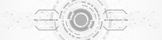 Arrière-plan numérique de cercle de chevauchement abstrait, technologie de lentille intelligente, circuit imprimé, accélération de la flèche
