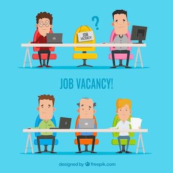 Arrière-plan de l'offre d'emploi dans le style plat