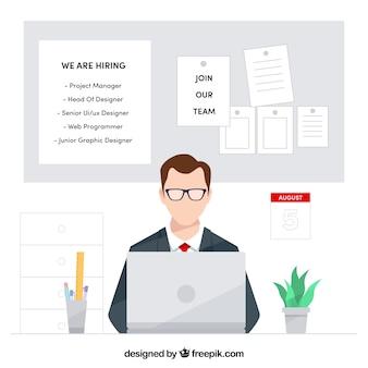 Arrière-plan de l'offre d'emploi avec le travailleur
