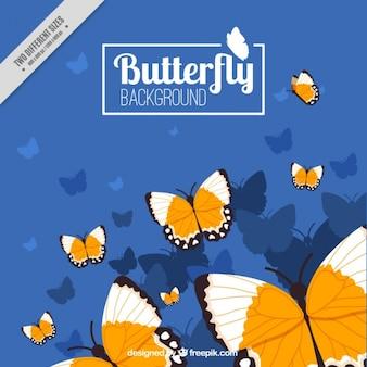Arrière-plan de papillons volant dessinés à la main