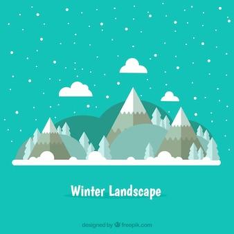 Arrière-plan de paysage enneigé hiver