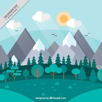 Arrière-plan de paysage montagneux avec des arbres