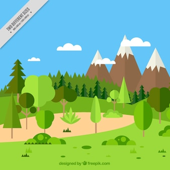 Arrière-plan de paysage naturel magnifique montagneuse design plat
