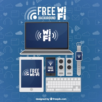 Arrière-plan de périphérique avec wifi gratuit