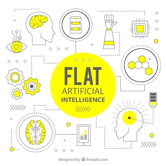 Arrière-plan plat intelligence artificielle