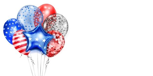 Arrière-plan avec plusieurs ballons colorés aux couleurs du drapeau américain. illustration pour le jour de l'indépendance des états-unis d'amérique