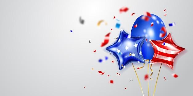 Arrière-plan avec plusieurs ballons colorés aux couleurs du drapeau américain et des morceaux de serpentine brillant. illustration pour le jour de l'indépendance des états-unis d'amérique