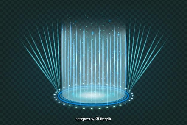 Arrière-plan de portail hologramme bleu réaliste