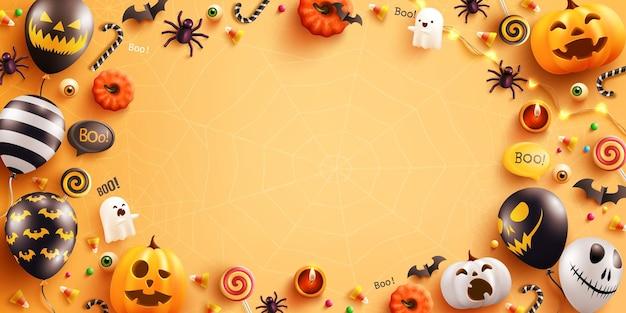 Arrière-plan pour halloween avec des ballons fantômes d'halloween et des ballons à air pumpkinscary hal