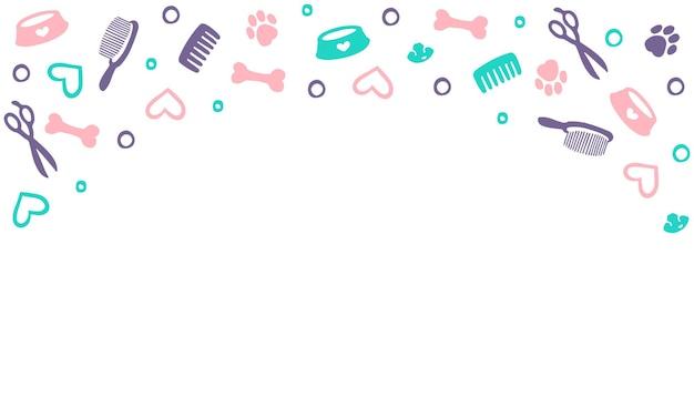 Arrière-plan pour le salon de coiffure pour chiens magasin de coiffure et de toilettage pour animaux de compagnie illustration vectorielle