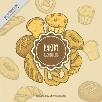 Arrière-plan de produits de boulangerie dessinés à la main