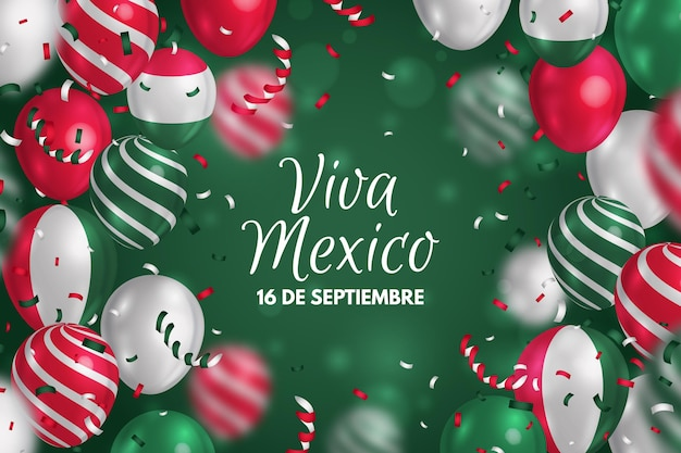 Arrière-plan réaliste de l'indépendance du mexique avec des ballons