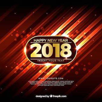 Arrière-plan réaliste de nouvel an 2018 avec des couleurs chaudes