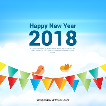 Arrière-plan réaliste de la nouvelle année 2018 avec des guirlandes