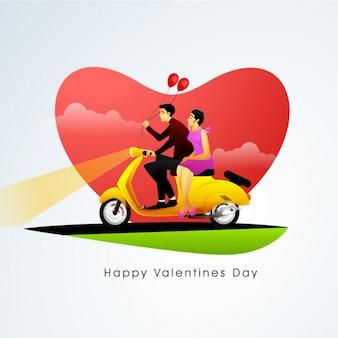 L'arrière-plan de la saint-valentin avec un couple assis sur une moto
