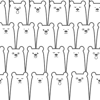 Arrière-plan sans soudure ours mignon