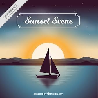 Arrière-plan de la scène du bateau d'été au coucher du soleil