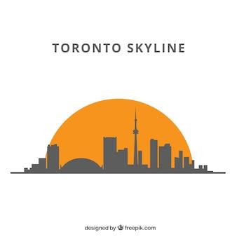 Arrière-plan de silhouette skyline dans un style plat