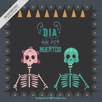 Arrière-plan avec des squelettes pour le jour des morts