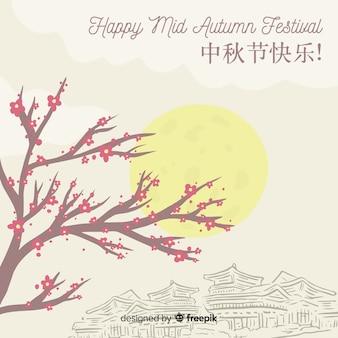 Arrière-plan de style créatif dessiné à la main pour le festival de la mi-automne