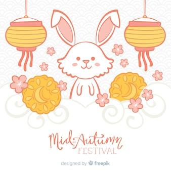 Arrière-plan de style dessiné main pour le festival de la mi-automne