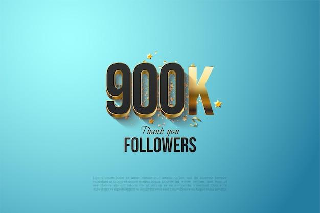 Arrière-plan de suiveur 900k avec des chiffres plaqués or massif