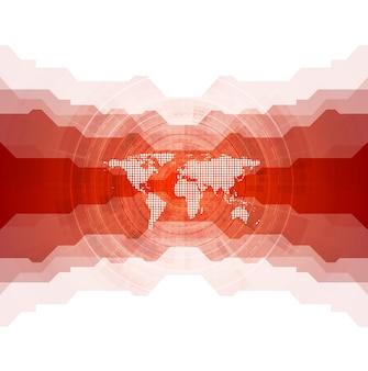 Arrière-plan technique lumineux avec carte du monde. conception de vecteur