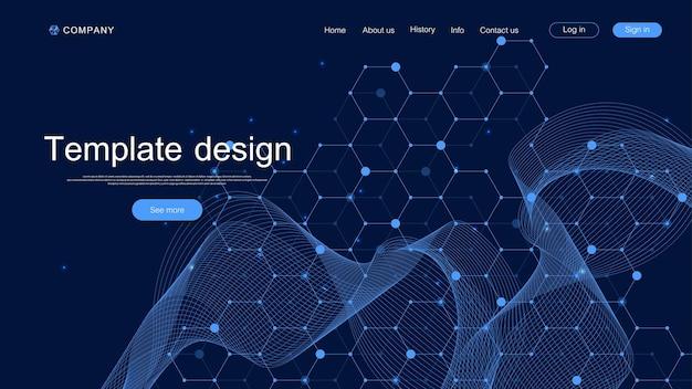 Arrière-plan technique de la page de destination avec des textures abstraites de carte de circuit imprimé. abstrait géométrique avec circuit imprimé de lignes. conception de modèle de site web. illustration vectorielle.