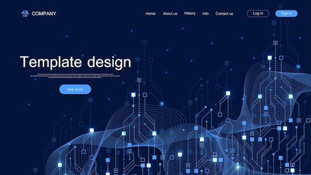 Arrière-plan technique de la page de destination avec des textures abstraites de carte de circuit imprimé. abstrait géométrique avec circuit imprimé de lignes. industrie de la conception de modèles de sites web. illustration vectorielle.
