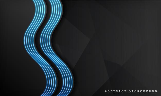 L'arrière-plan de la technologie abstraite de vague noire chevauche des couches sur un espace sombre avec un effet néon de lumière bleue