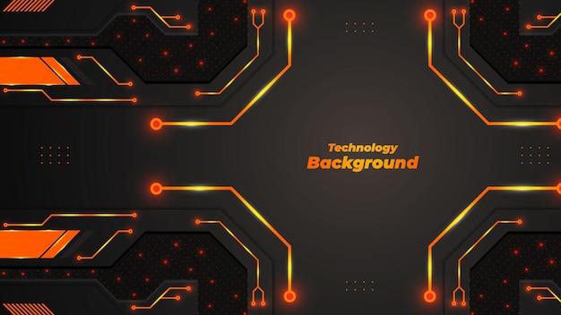 Arrière-plan technologique avec des formes et des lumières de couleur orange et dégradé.
