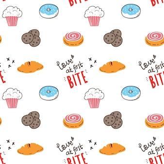 Arrière-plan transparent de boulangerie doodle