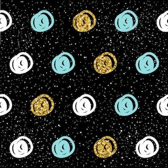 Arrière-plan transparent dessiné à la main. or, bleu, rond blanc. motif rond abstrait pour carte de noël, invitation de nouvel an, album de mariage, livre, album, tissu textile, vêtement, t-shirt. texture or
