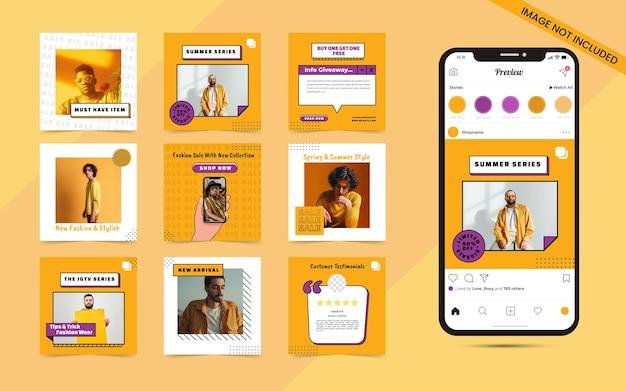 Arrière-plan transparent de forme organique abstraite pour l'ensemble de publication de carrousel de médias sociaux de promotion de blog de bannière de vente de mode instagram