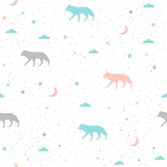 Arrière-plan transparent de loup. loup gris, bleu et rose. modèle abstrait sans couture pour carte, livre, bannière, couverture de journal intime, t-shirt, album, tissu textile, vêtement, etc. thème nature et animal.