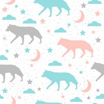 Arrière-plan transparent de loup. loup gris, bleu et rose. modèle abstrait sans couture pour carte, livre, bannière, couverture de journal intime, t-shirt, album, tissu textile, vêtement, etc. thème naure et animal.