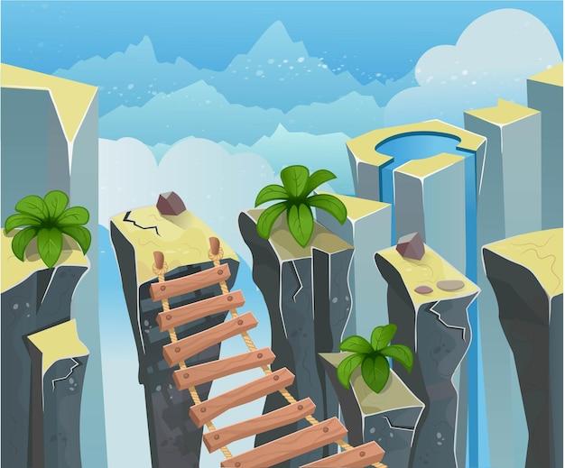 Arrière-plan transparent de palmiers et de pierres pour les jeux et les applications mobiles.vector.