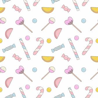 Arrière-plan transparent sans fin avec des bonbons et des bonbons. sucettes et bonbons sur fond blanc. papier peint pour coudre des vêtements, impression sur tissu, papier d'emballage.
