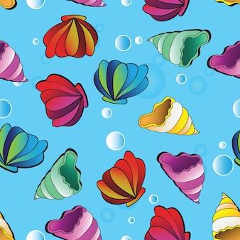 Arrière-plan transparent de vecteur avec des coquillages colorés