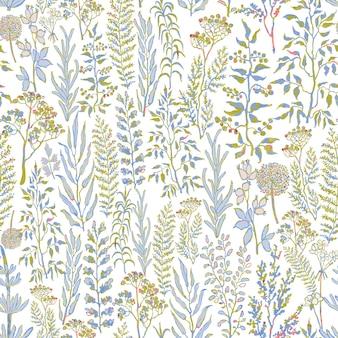 Arrière-plan transparent de vecteur avec illustration aquarelle colorée d'herbes, plantes et fleurs