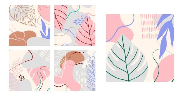 Arrière-plan tropical abstrait avec des formes géométriques, des feuilles de palmier aux couleurs pastel. collage moderne bleu, rose, marron pour affiches. illustration vectorielle dans un design abstrait de style branché, feuille de monstera
