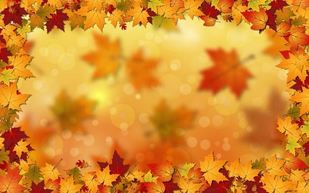 Arrière-plan vectoriel flou de style automne avec effet bokeh et feuilles colorées