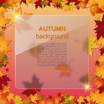 Arrière-plan vectoriel flou de style automne avec des feuilles colorées et un panneau d'affichage en verre avec effet de glassmorphisme