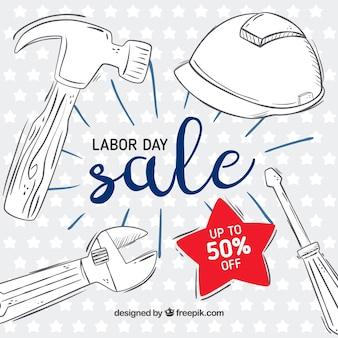 Arrière-plan de vente fête du travail avec des outils