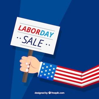 Arrière-plan de vente fête du travail avec signe